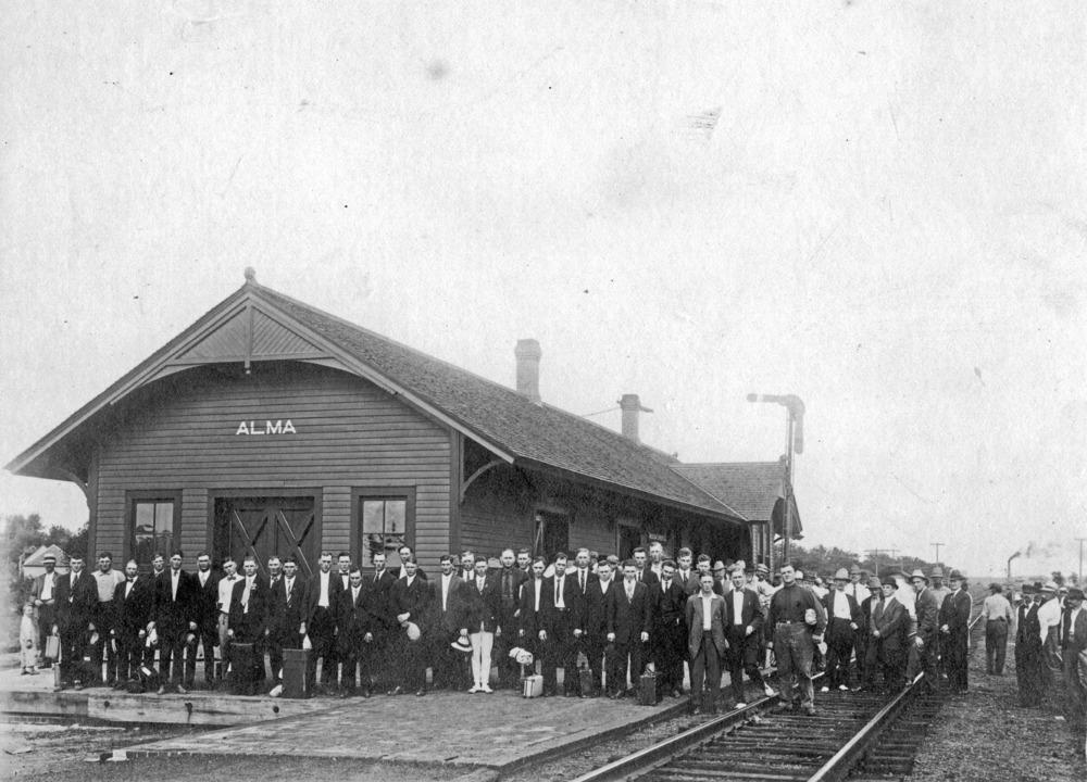 Men drafted into World War I at Rock Island Depot, Alma, Kansas