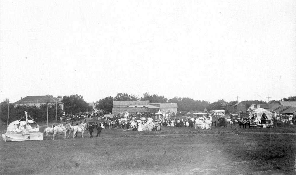 Parade participants at the end of Missouri Street,  Alma, Kansas