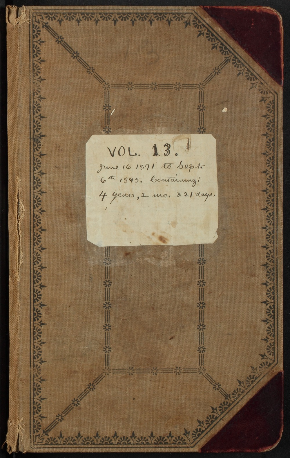 Samuel Reader's diary, volume 13 - Front Cover
