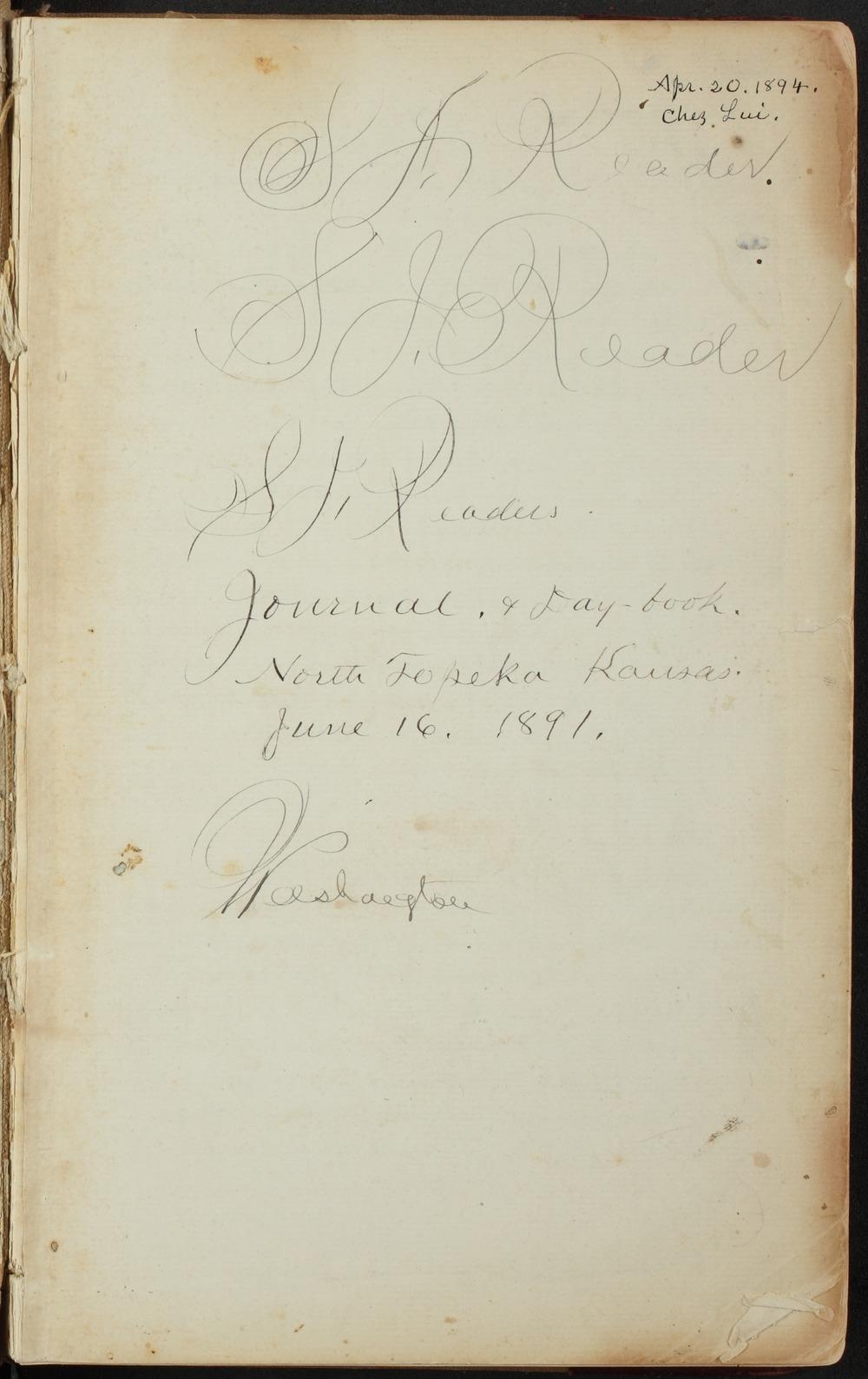 Samuel Reader's diary, volume 13 - Facing Inside Front Cover