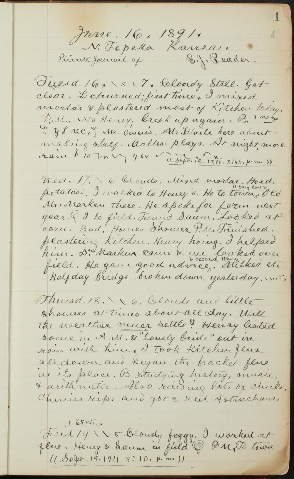 Samuel Reader's diary, volume 13 - 1