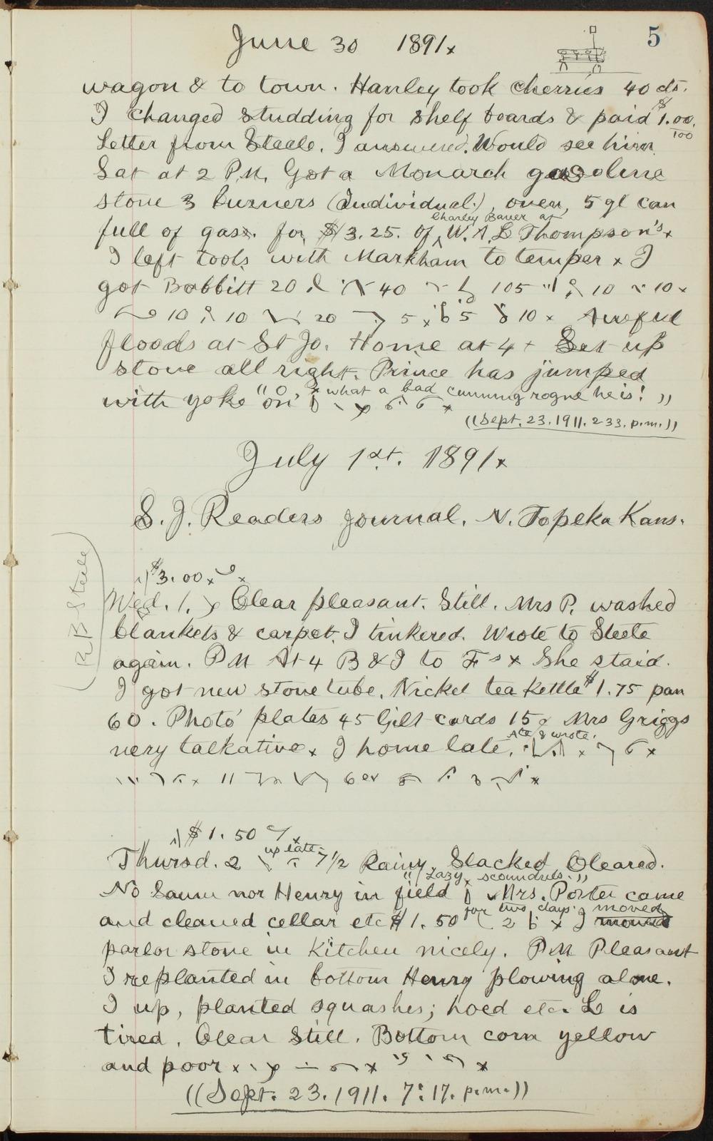 Samuel Reader's diary, volume 13 - 5
