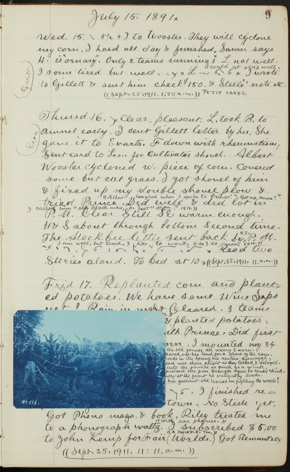 Samuel Reader's diary, volume 13 - 9 with photograph