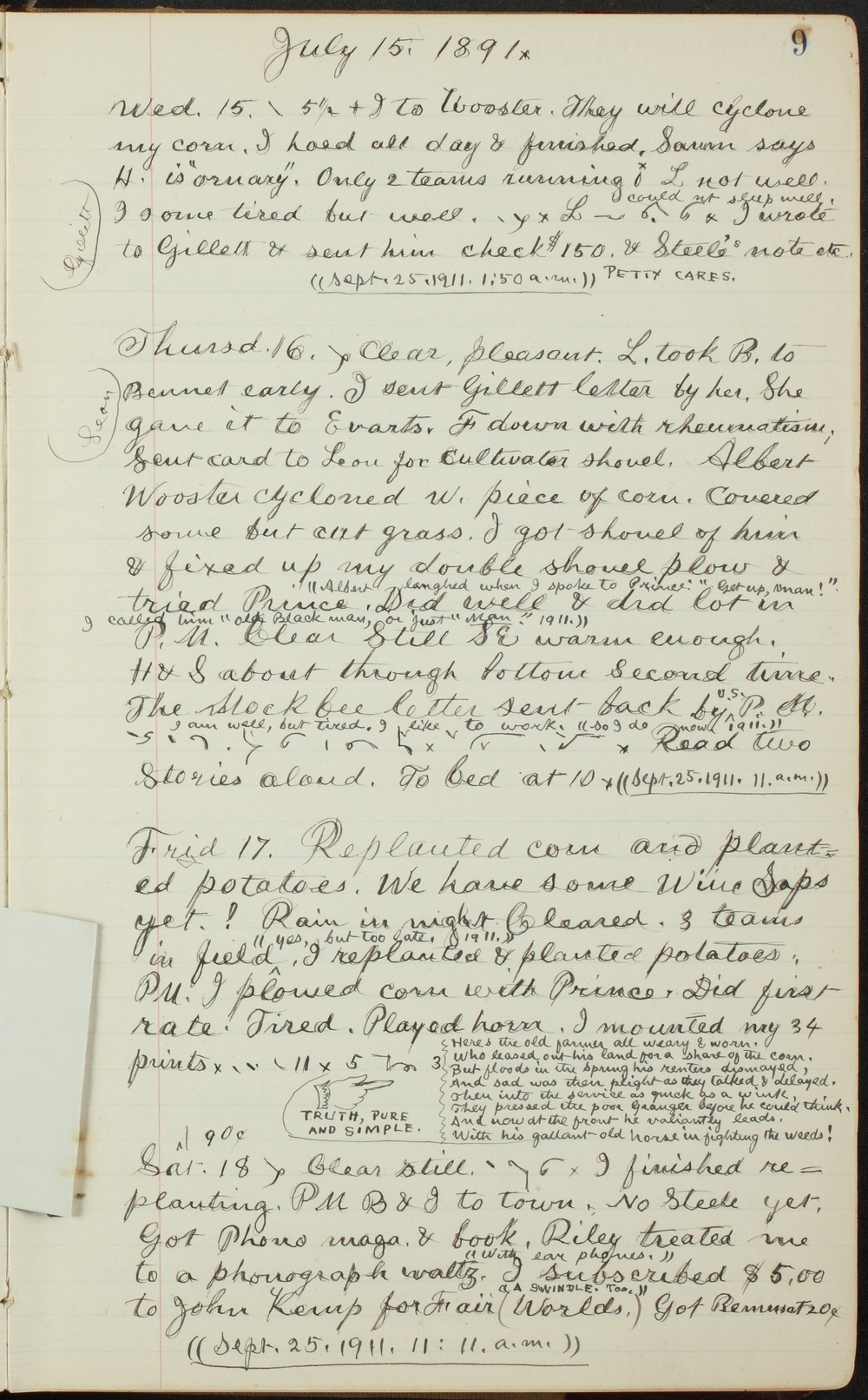 Samuel Reader's diary, volume 13 - 9 without photograph