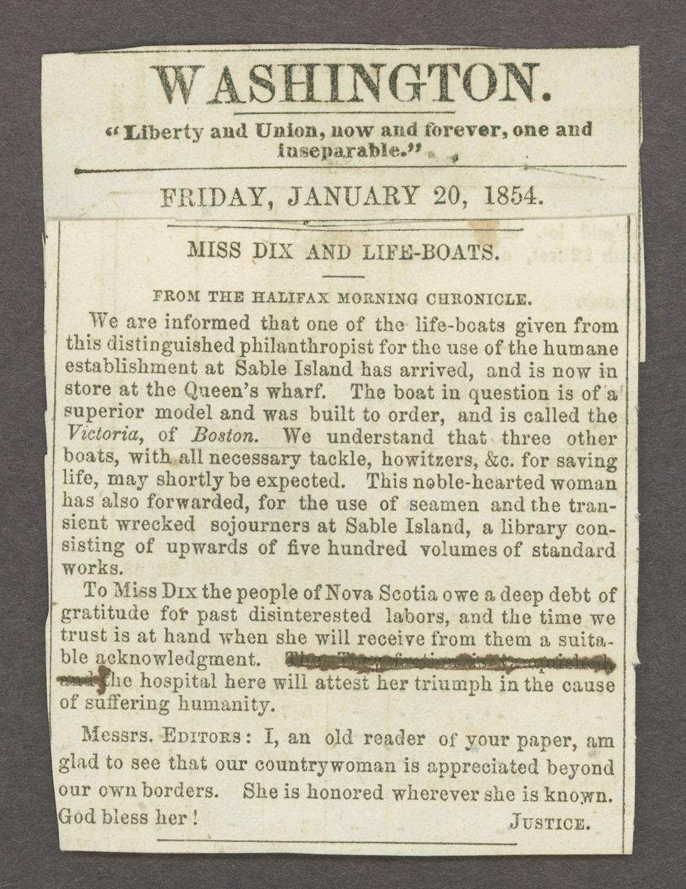 Dorothea Dix correspondence - 1 [Box 1 Folder 1]