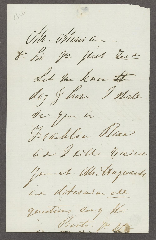 Dorothea Dix correspondence - 1 [Box 1 Folder 4]