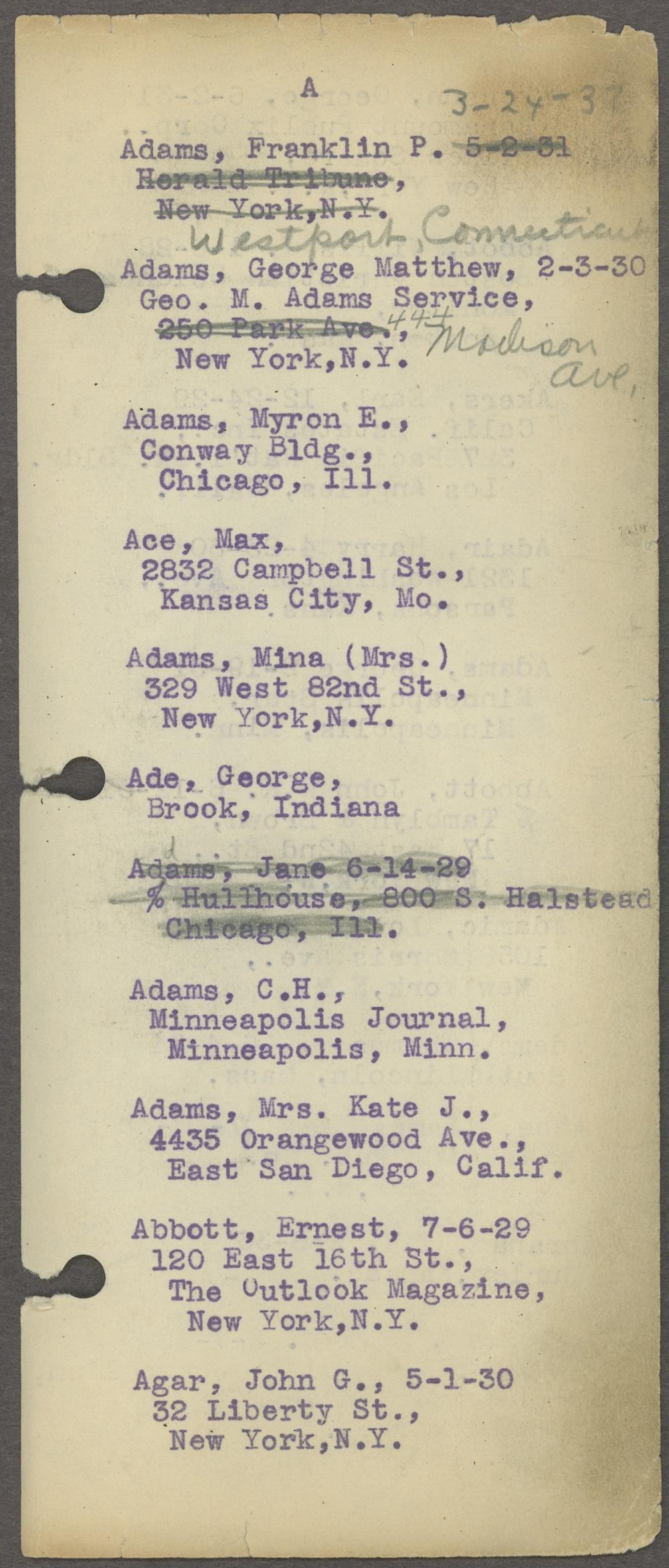 William Allen White address book - Page 1