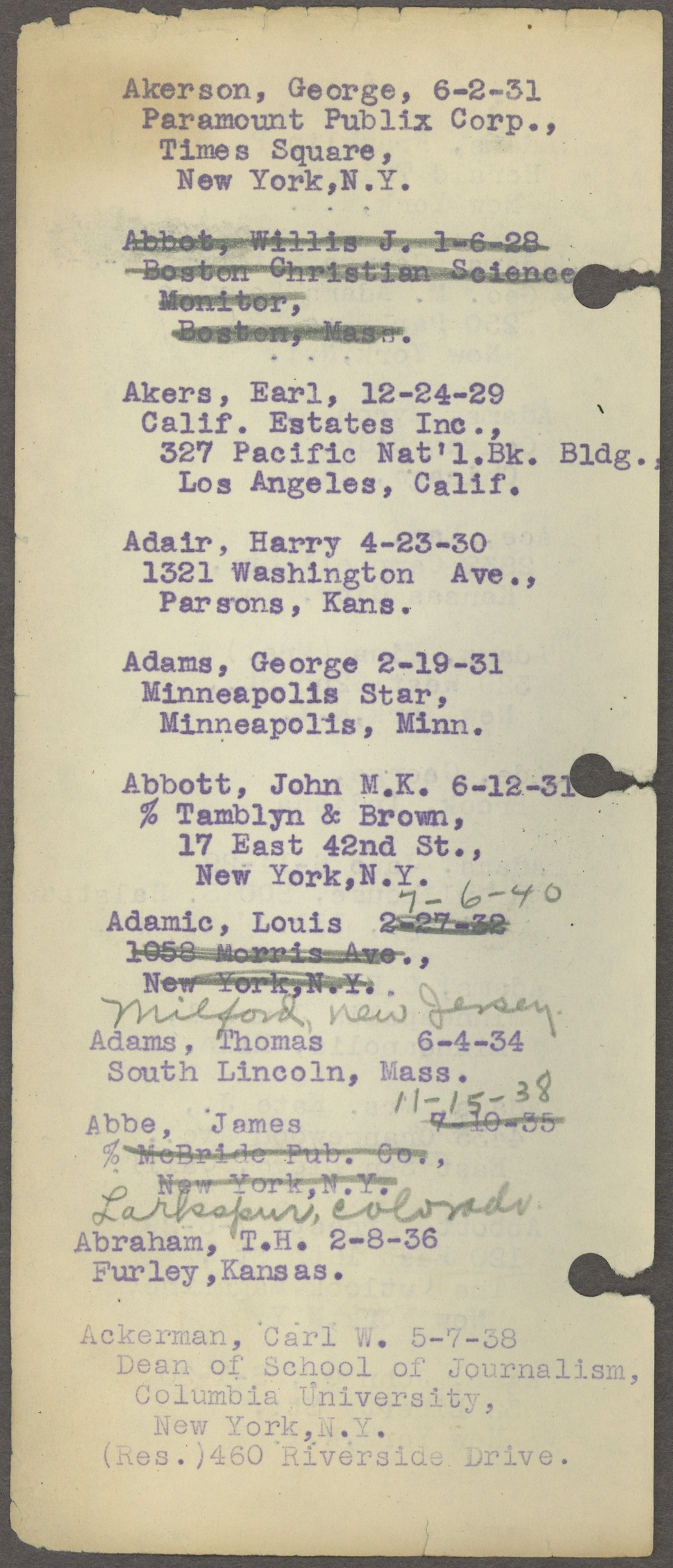 William Allen White address book - Page 2