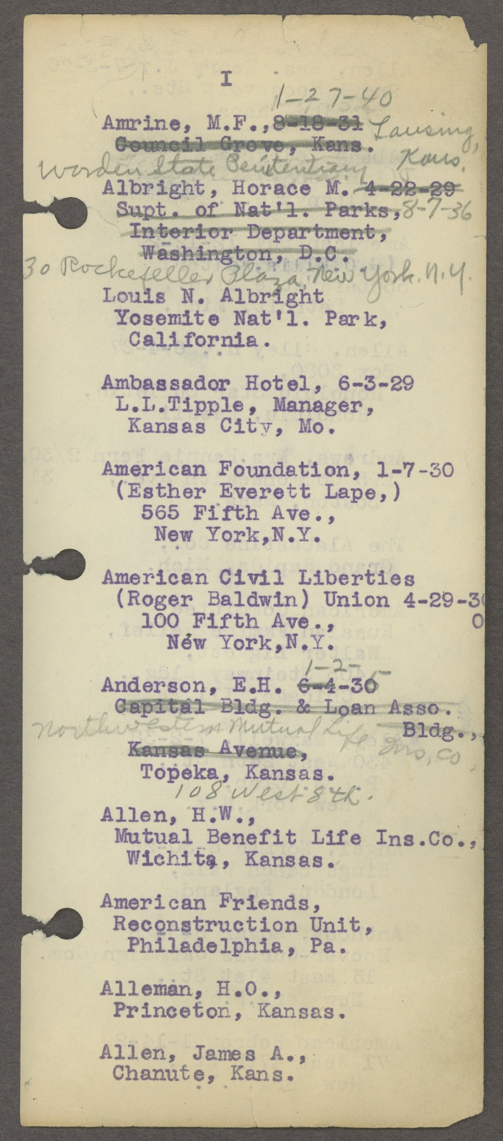 William Allen White address book - Page 4