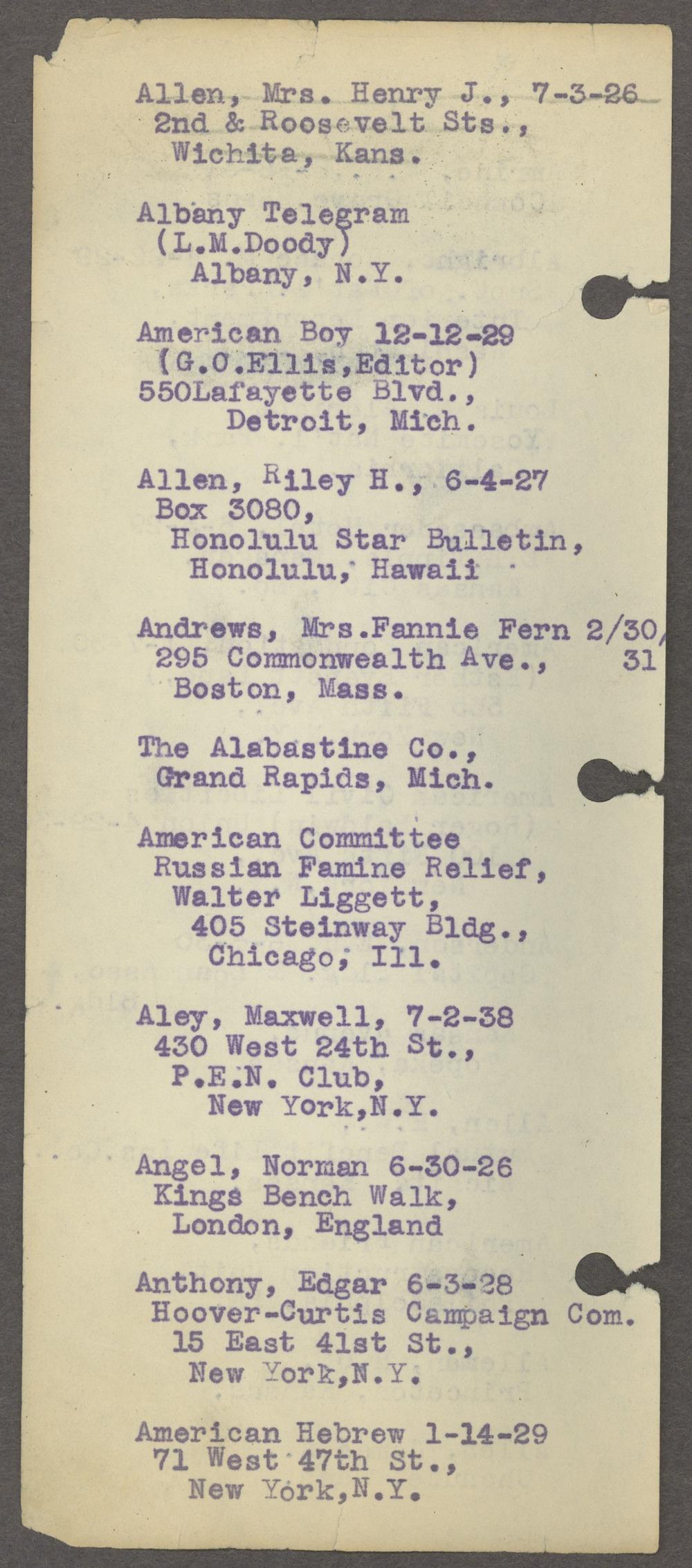 William Allen White address book - Page 5