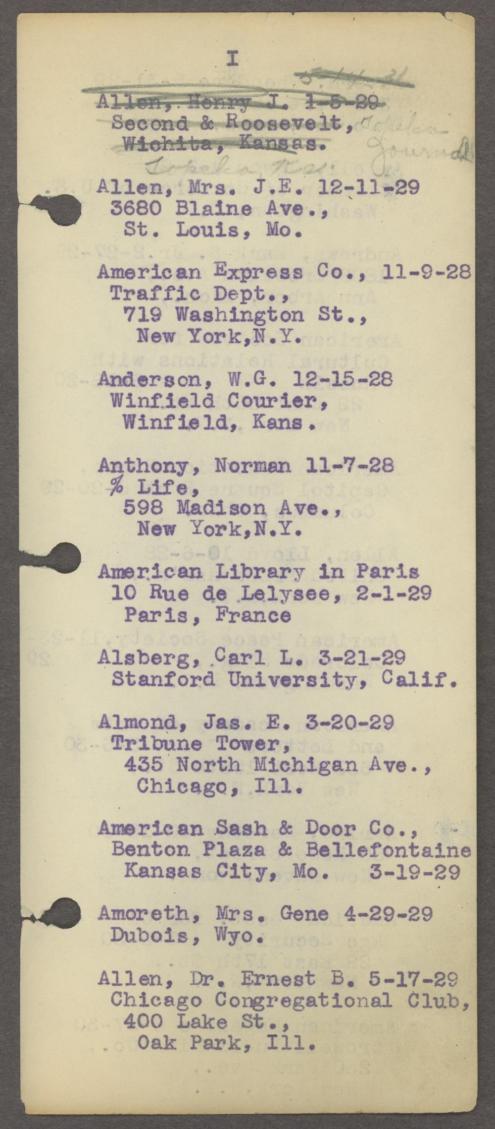 William Allen White address book - Page 6