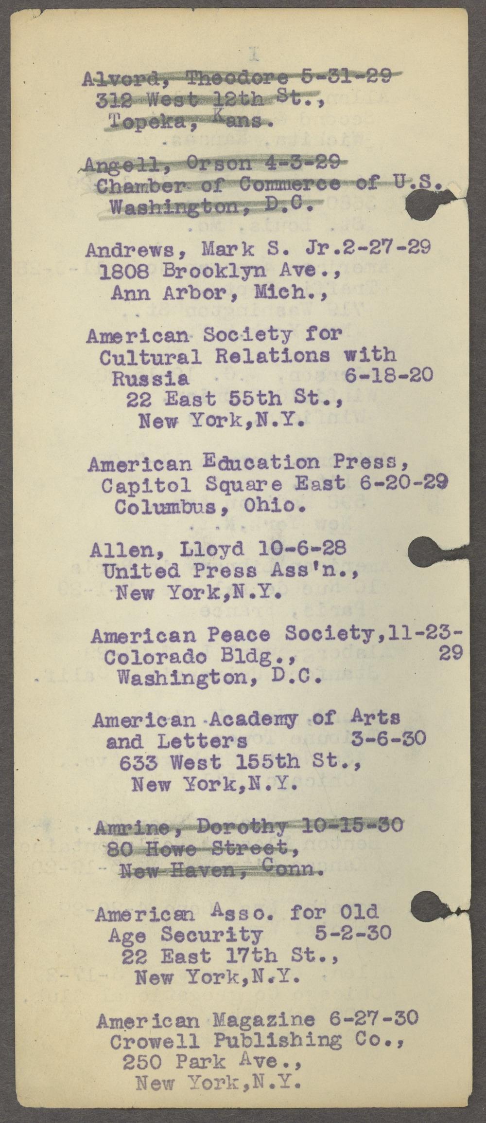 William Allen White address book - Page 7