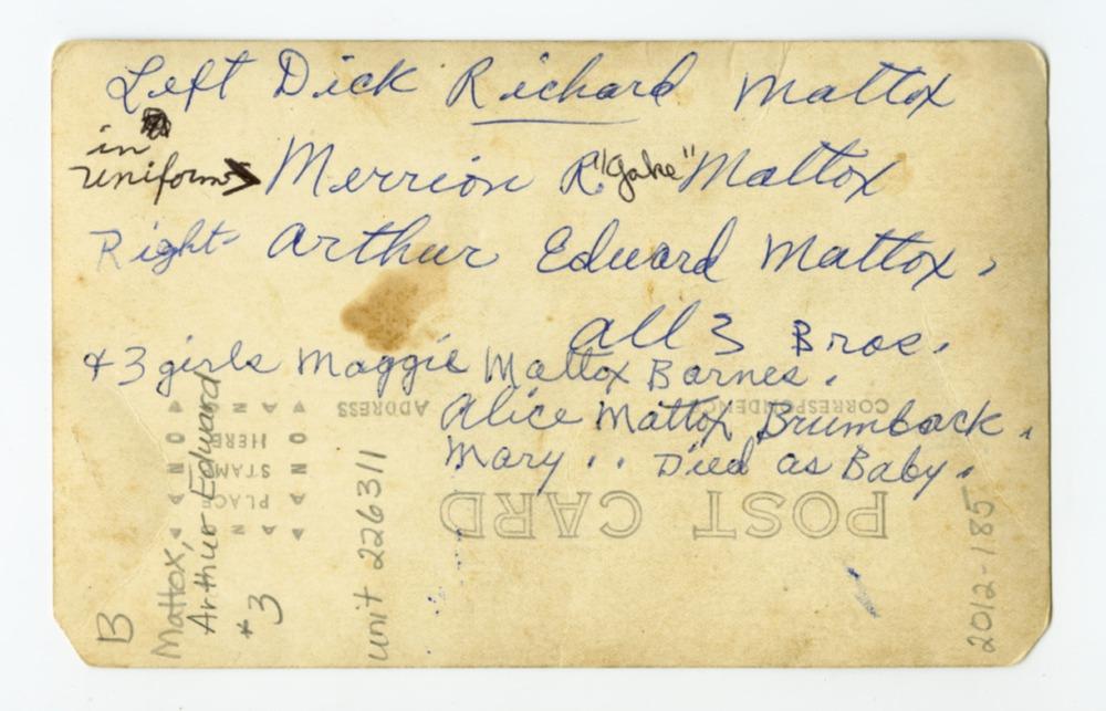 Richard Mattox, Merrion R. Mattox and Arthur Edward Mattox - 2