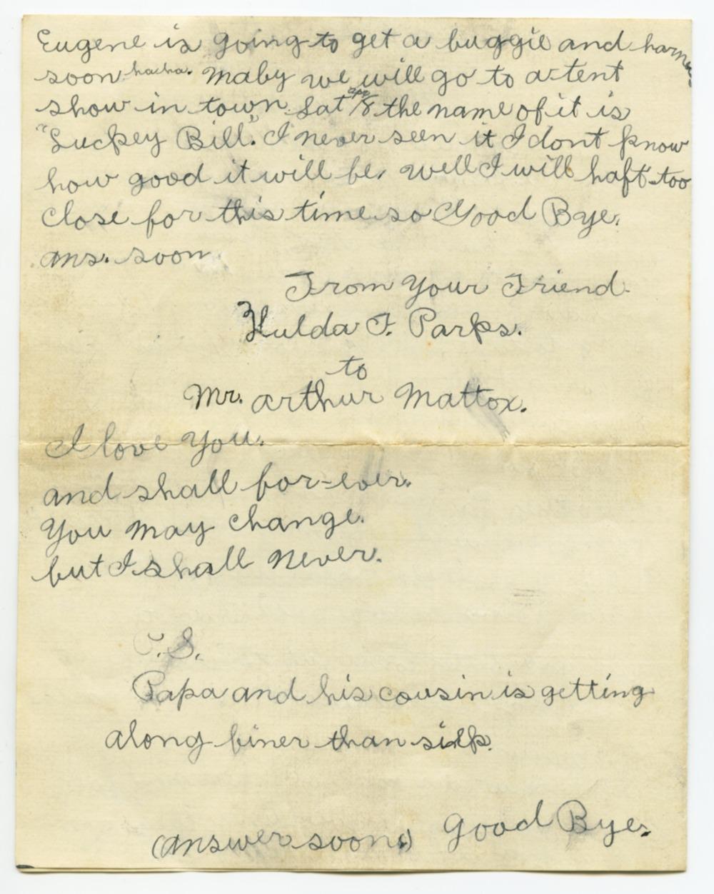 Arthur Edward Mattox and Hulda Florence Parks Mattox collection - 9