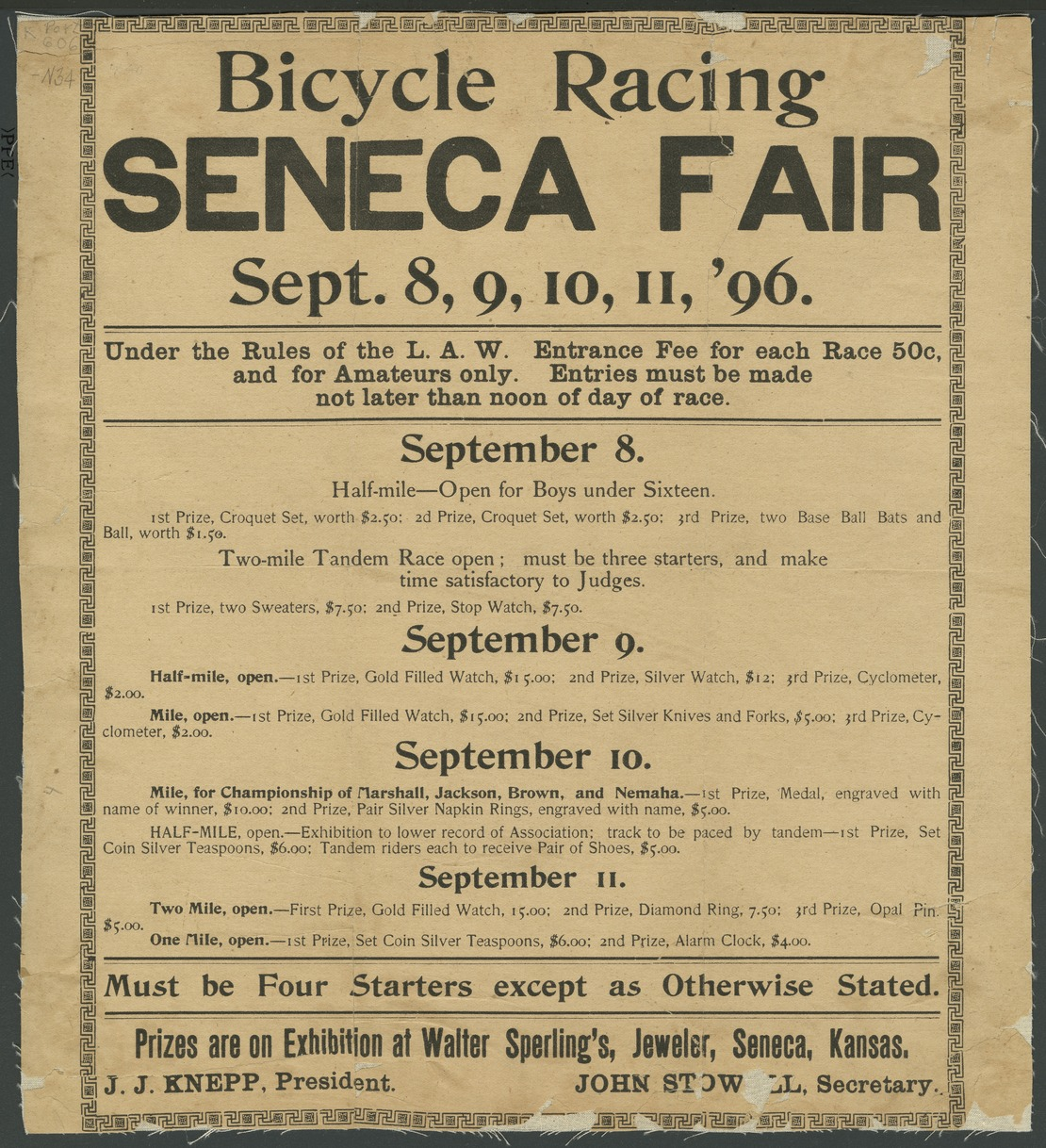 Bicycle racing. Seneca fair