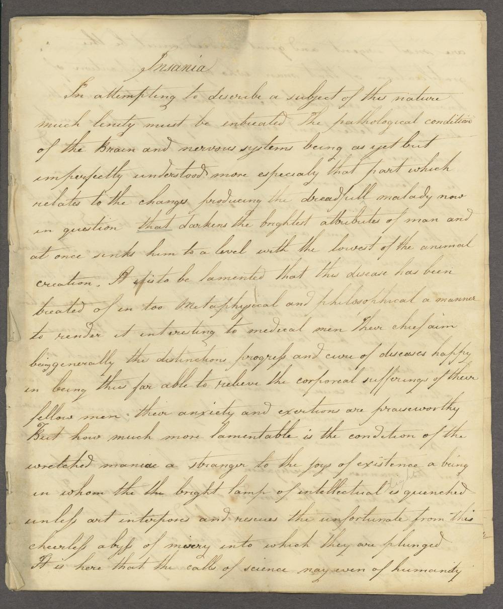 Historic Psychiatry original miscellaneous documents - 1 [Box 1 Folder 2]