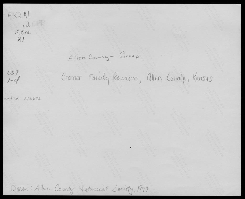 Cramer family reunion, Allen County, Kansas - 2