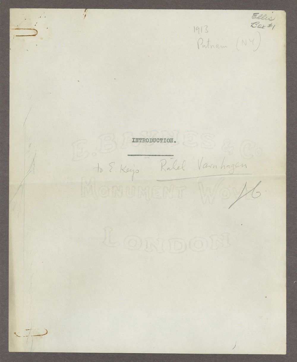 Henry Havelock Ellis papers - 1 [Box 1, Folder 3]