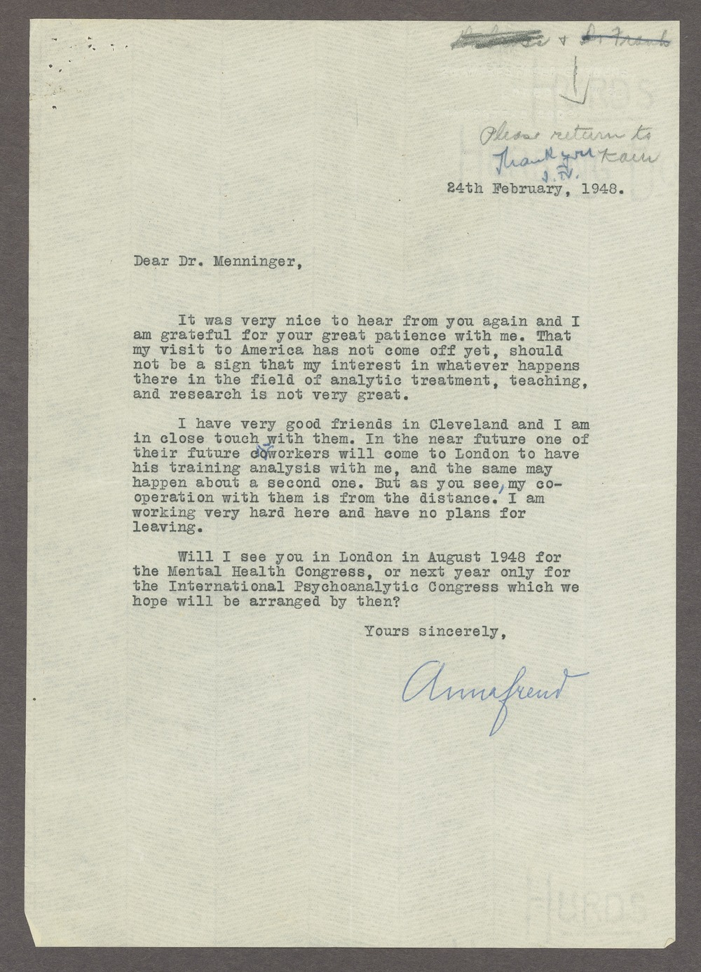 Anna Freud correspondence - Freud, Anna  February 24, 1948 (Box 1, folder 2)