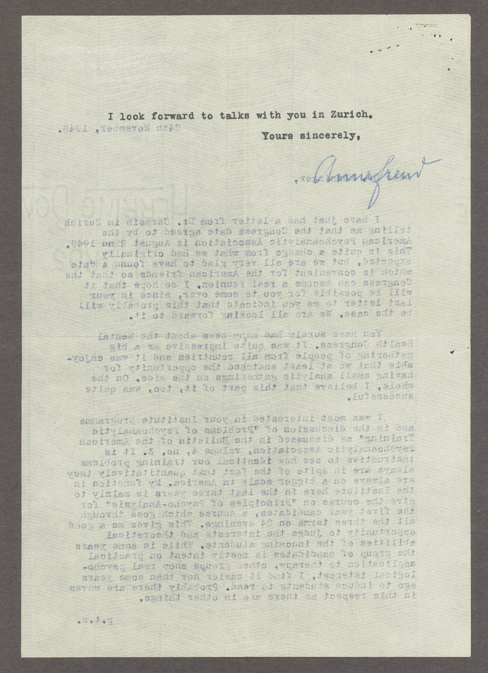 Anna Freud correspondence - 2