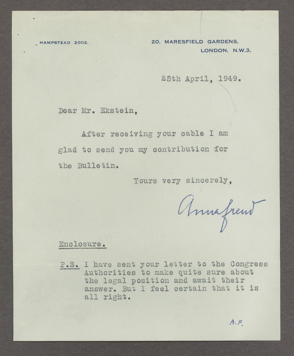 Anna Freud correspondence - Freud, Anna  April 25, 1949 (Box 1, folder 6)