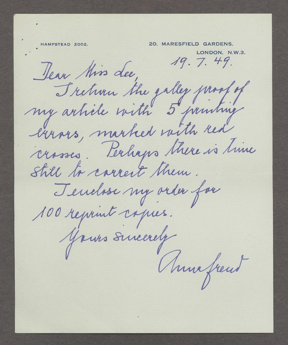 Anna Freud correspondence - Freud, Anna  June 19, 1949 (Box 1, folder 8)