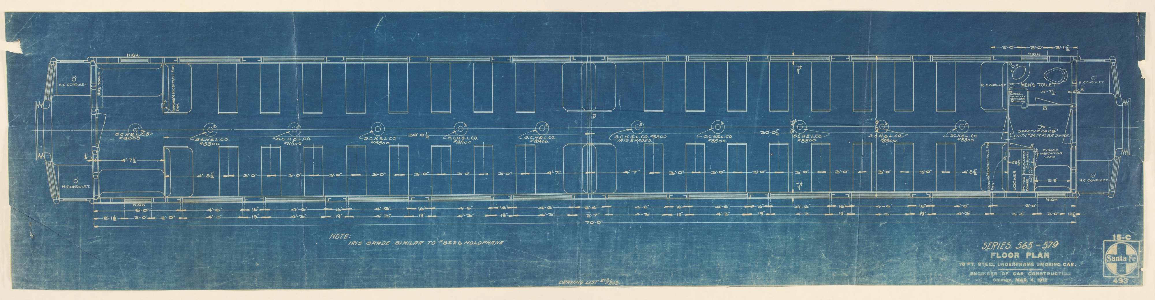 Santa Fe smoking car floor plan