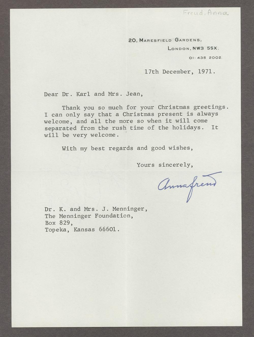 Anna Freud correspondence - Freud, Anna  December 17, 1971 (Box 1, folder 49)