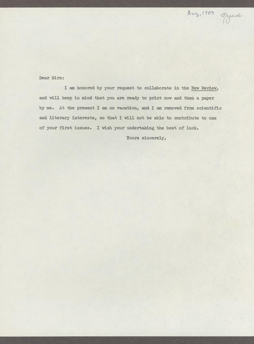 Sigmund Freud correspondence - 3