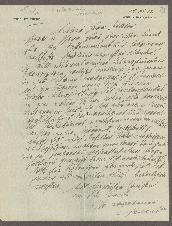 Sigmund Freud correspondence - 1 [Box 1, Folder 3]