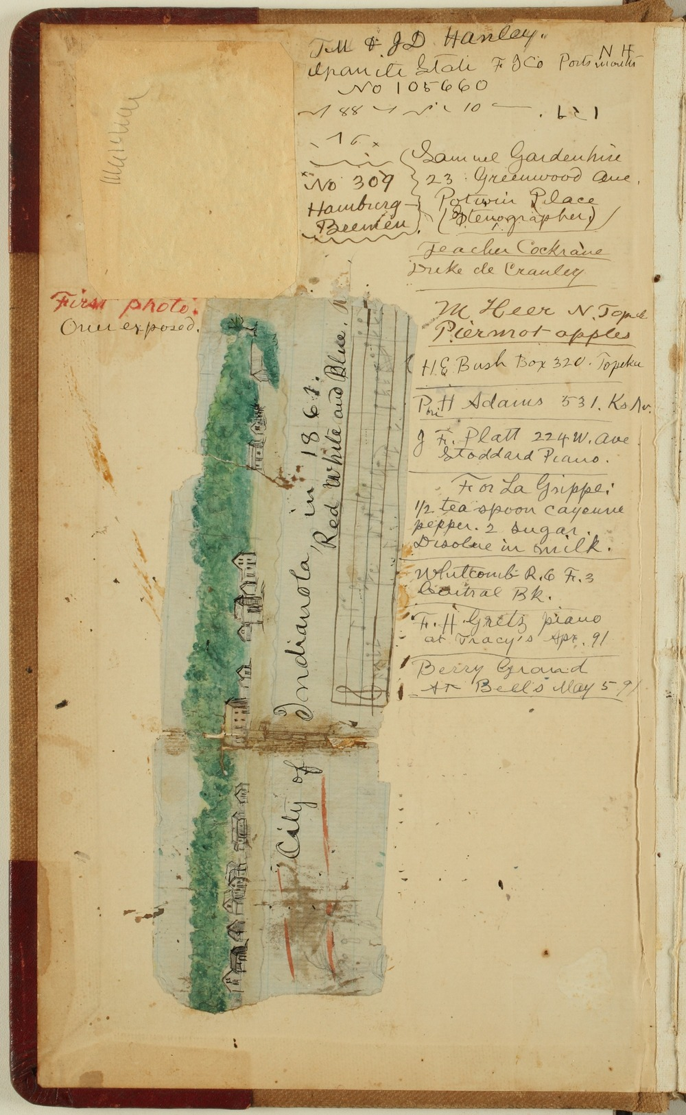 Samuel Reader's diary, volume 12 - Inside Front Cover