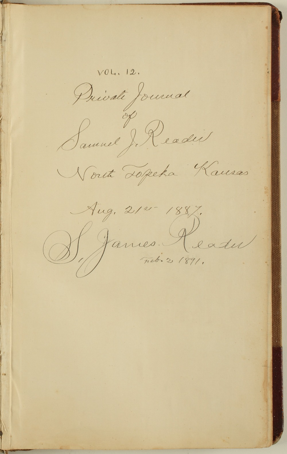 Samuel Reader's diary, volume 12 - Title Page
