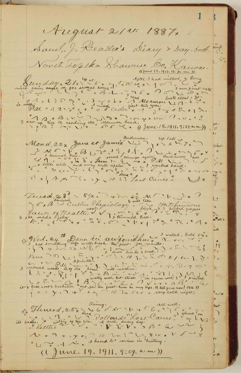 Samuel Reader's diary, volume 12 - 1