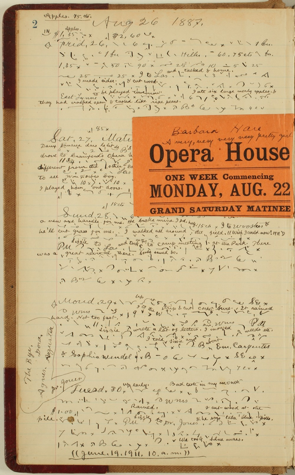 Samuel Reader's diary, volume 12 - 2 with clipping
