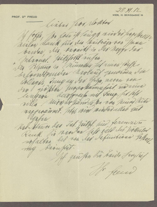 Sigmund Freud correspondence - 1 [Box 1, Folder 4]