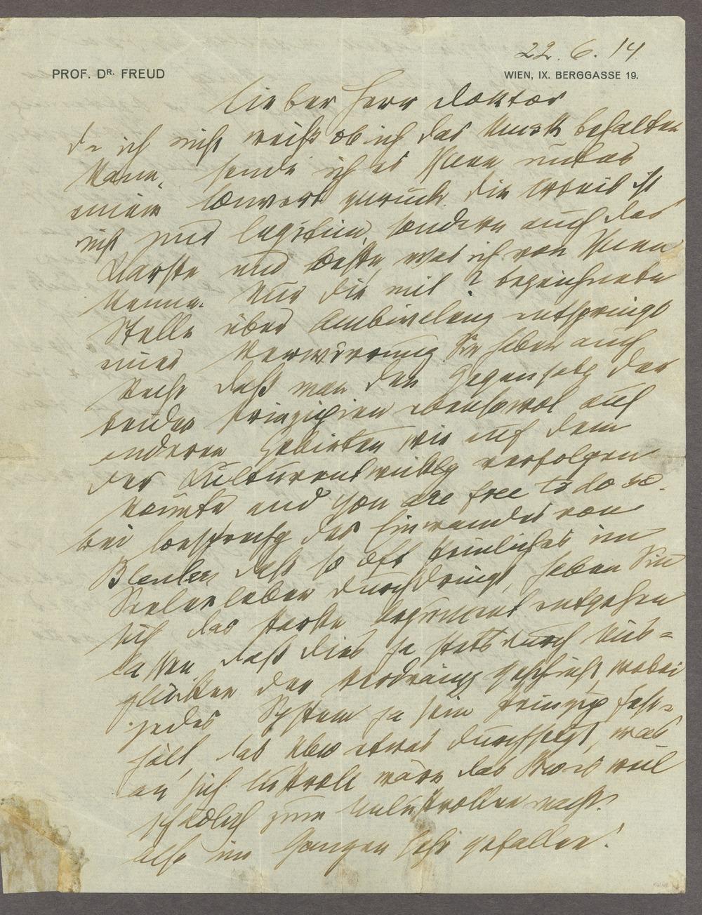 Sigmund Freud correspondence - 1 [Box 1, Folder 5]