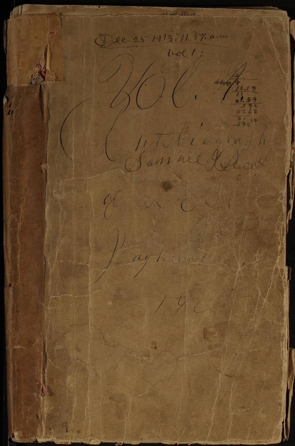 Samuel J. Reader's autobiography, volume 1 - Front Cover