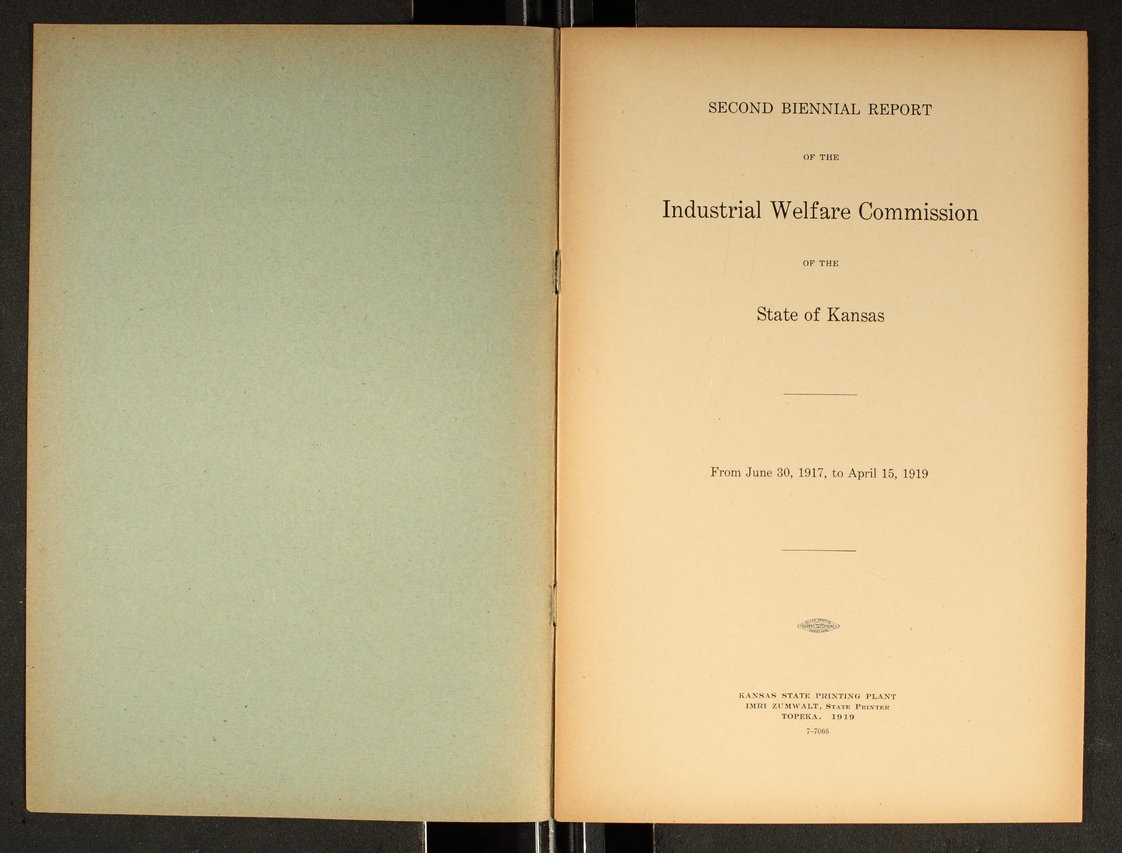 Second biennial report of the Industrial Welfare Commission of the State of Kansas - 1