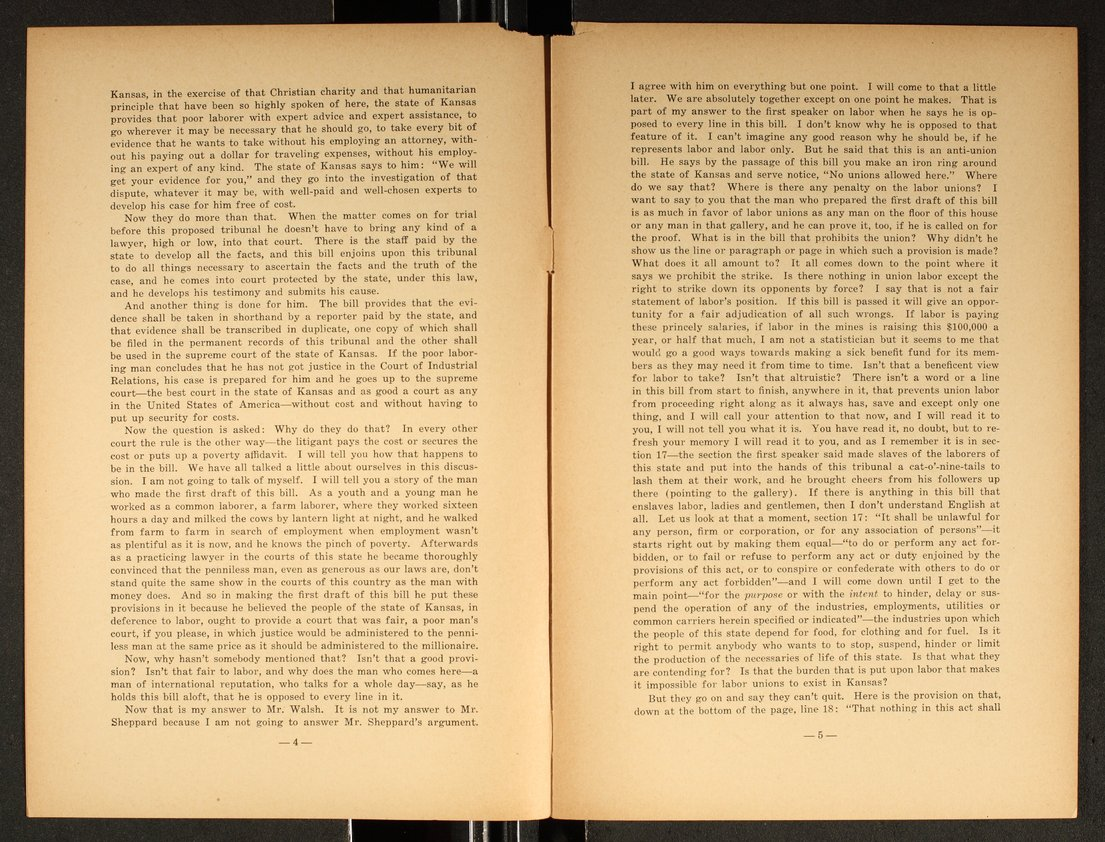 Speech delivered before the Kansas Legislature by W. L. Huggins - 4 & 5