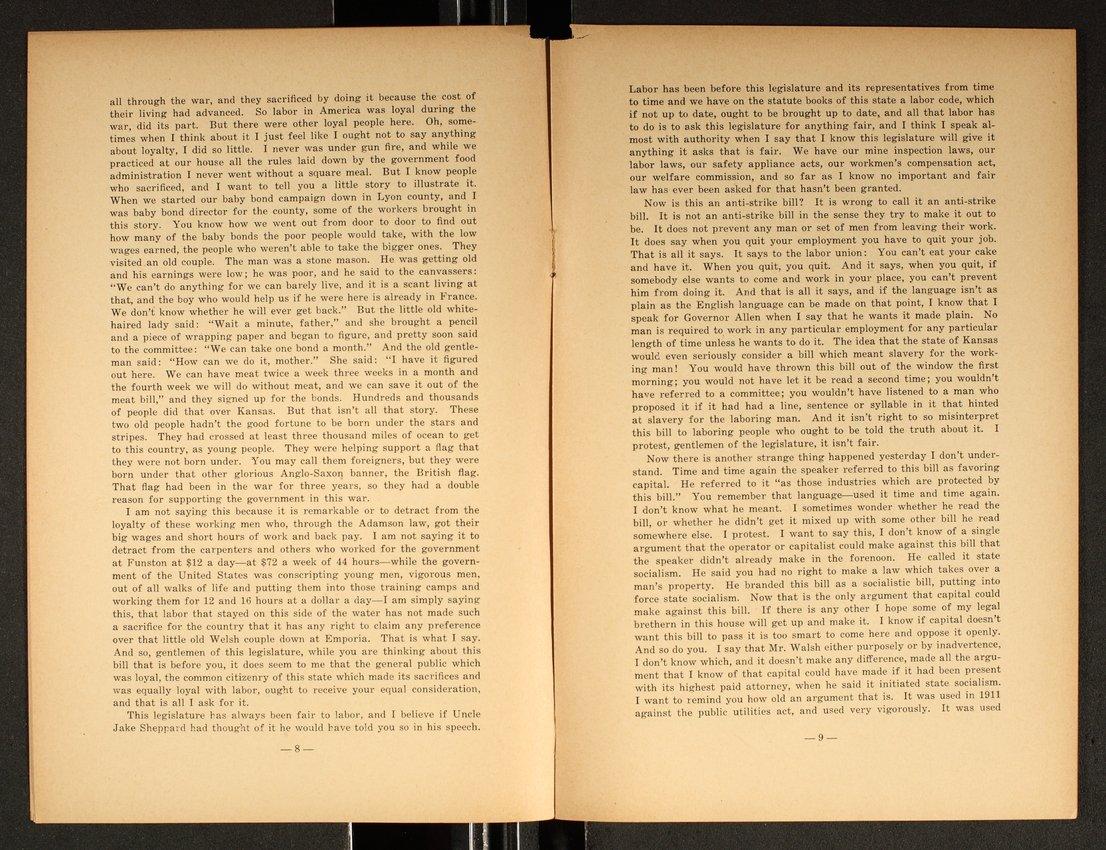 Speech delivered before the Kansas Legislature by W. L. Huggins - 8 & 9