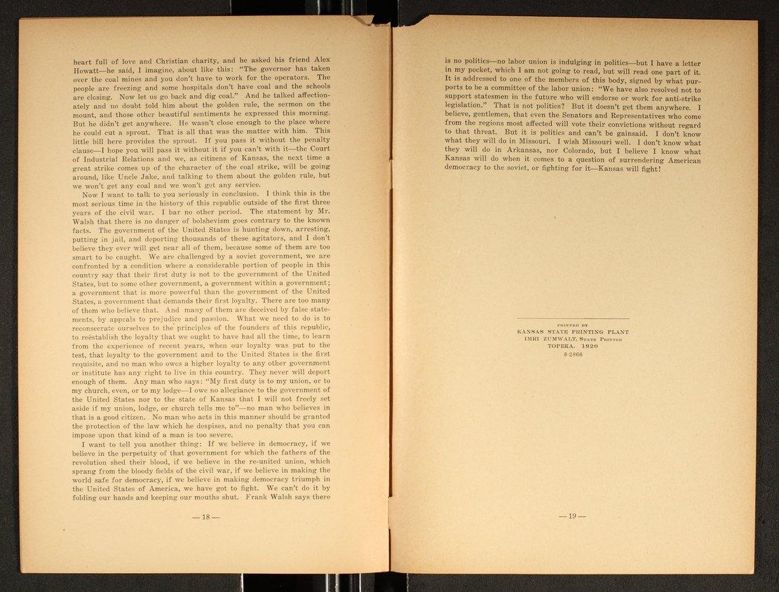 Speech delivered before the Kansas Legislature by W. L. Huggins - 18 & 19