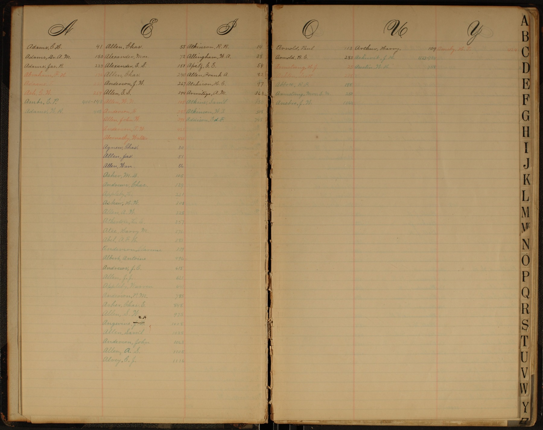 Hermon S. Major papers - Index A