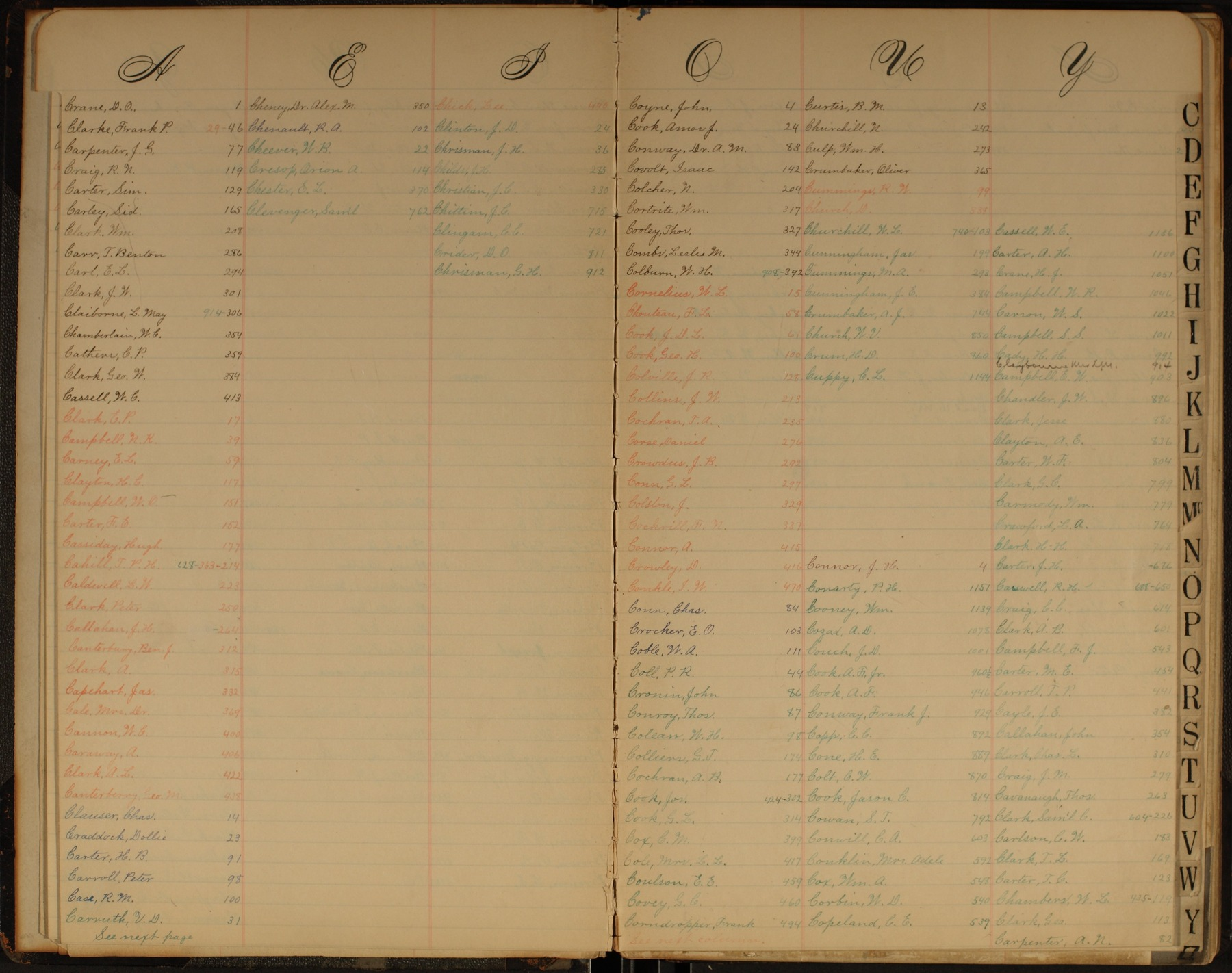 Hermon S. Major papers - Index C