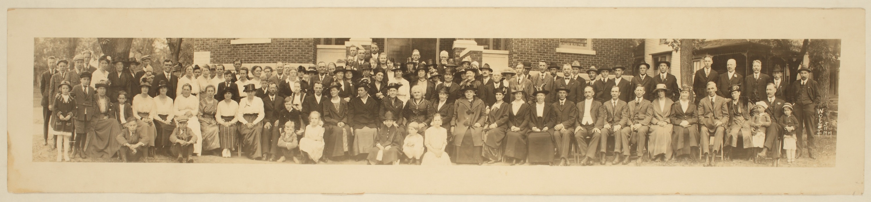 Group in front of First Swedish Baptist Church, unknown location - 1