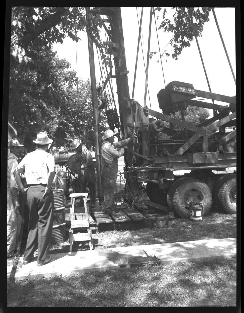 Drilling a water well on the Funston property - 1