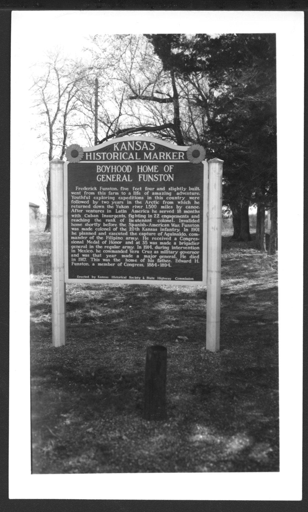 Historical marker for Frederick Funston's boyhood home, Allen County, Kansas - 2