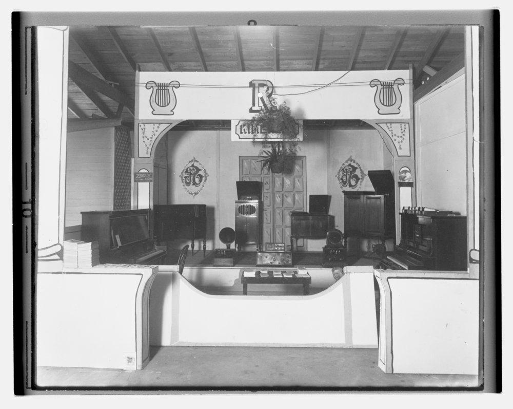 Allen County fair exhibits, Allen County, Kansas - Roberts Music Company fair exhibit. *1