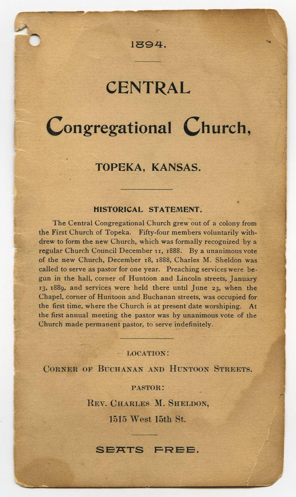 Central Congregational Church directory of members - 1 [1894 Directory]
