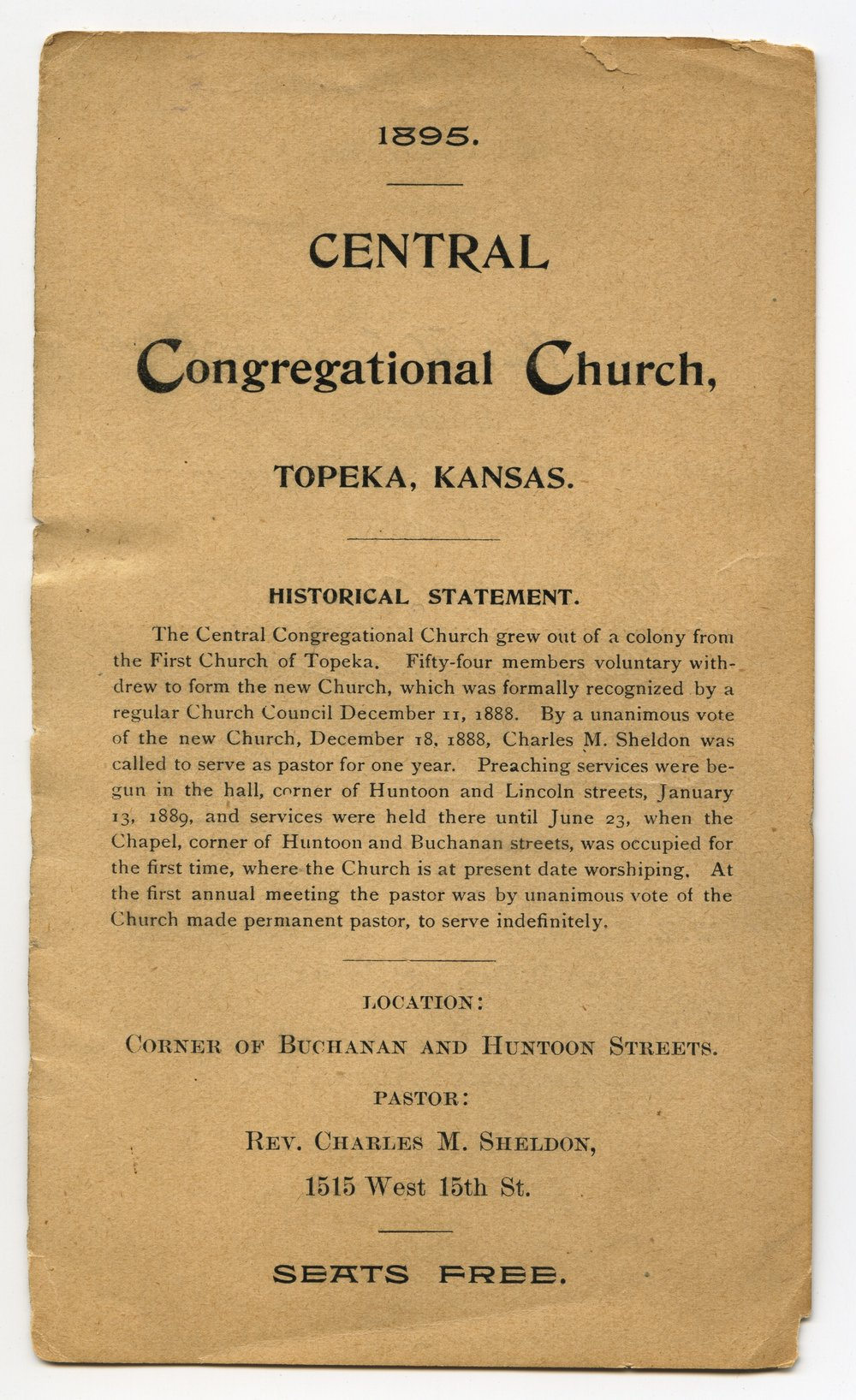 Central Congregational Church directory of members - 1 [1895 Directory]