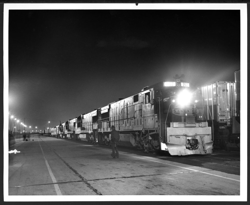 Atchison, Topeka & Santa Fe Railway Company's piggy-back train, Hobart Yards, Los Angeles, California - 1